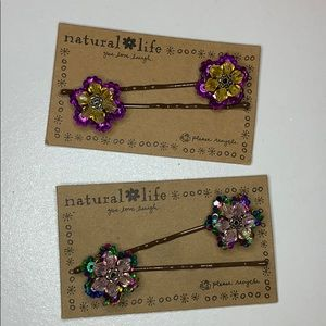 Natural Life Hair Pins Two Pair